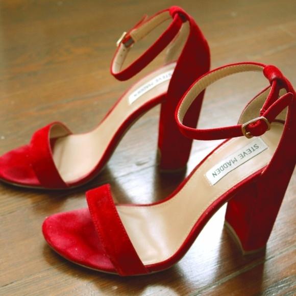 f2b93b4d54d Steve Madden Carrson Red Suede Block Heel Sandals